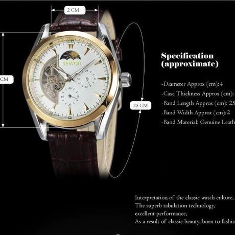 d33541154c ... SEWOR メンズ 自動巻き 腕時計 機械式 レザーベルト ムーンフェイズ ホワイト×ブラウン ...