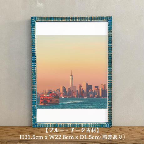 ポスター アート A4 + ポスターフレーム 木製 「Half Asleep- ニューヨーク マンハッタン T261」