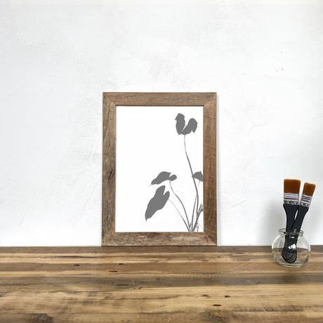 「モノクロアート Philo」A4 モノトーン ポスター & 木製 アンティーク 額縁 セット