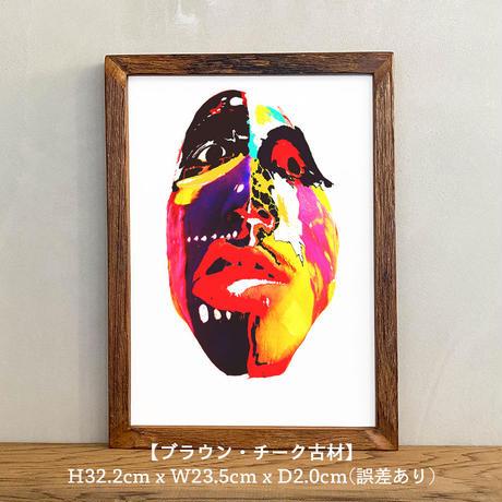 「Urban tribal 2nd」A4 インテリアポスター & 木製 アンティーク 額縁 セット