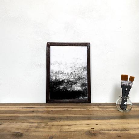 「モノクロアート Mono.6」A4 モノトーン ポスター & 木製 アンティーク 額縁 セット