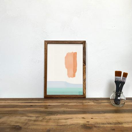 Untitled「水彩」 A4 プリント ポスター アート + 木製 アンティーク 額縁 No.116