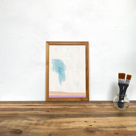 Untitled「水彩」 A4 プリント ポスター アート + 木製 アンティーク 額縁 No.115
