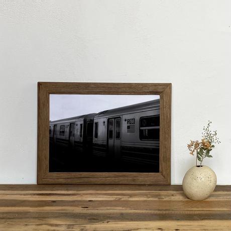 「モノクロアート Train」A4 モノトーン ポスター & 木製 アンティーク 額縁 セット