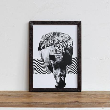 Rhino x Paris 「モノクロアート 動物街」A4 モノトーン ポスター + 古材 フレーム セット商品