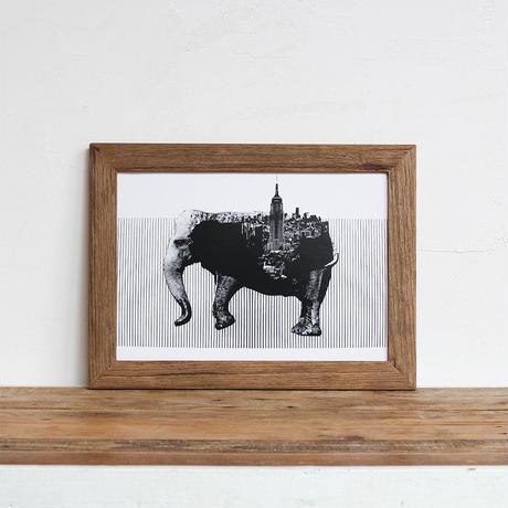 Elephant x New York 「モノクロアート 動物街」A4 モノトーン ポスター + 古材 フレーム セット商品