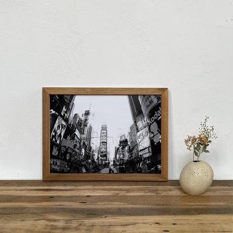「モノクロアート Times Square」A4 モノトーン ポスター & 木製 アンティーク 額縁 セット