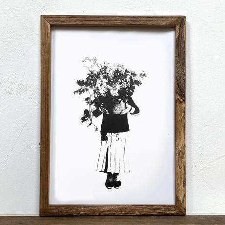 「モノクロアート Monogirl」A4 モノトーン ポスター & 木製 アンティーク 額縁 セット