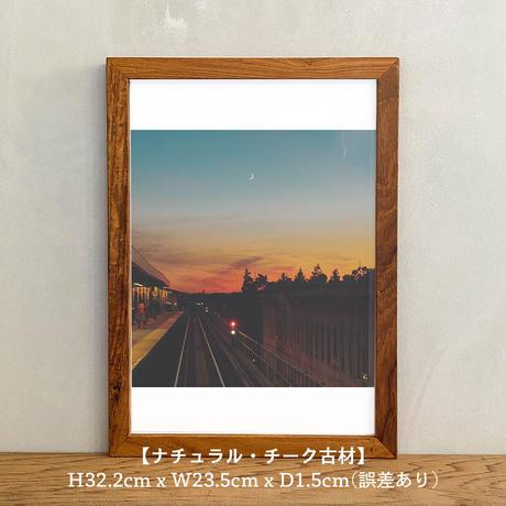 ポスター アート A4 + ポスターフレーム 木製 「I love you golden blue - ニューヨーク T256」