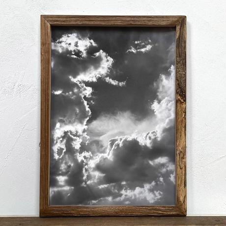 「モノクロアート Clouds」A4 モノトーン ポスター & 木製 アンティーク 額縁 セット
