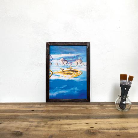 Fish 「グラフィック」A4  ポスター + アンティーク ウッド フレーム