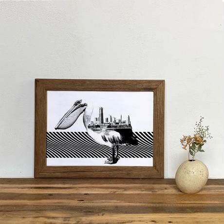 Pelican x 横浜 「モノクロアート 動物街」A4 モノトーン ポスター + 古材 フレーム セット商品