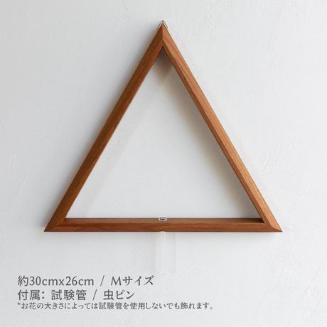 壁掛け 三角形 一輪挿し Mサイズ (約W300×H260×D23mm) ドライフラワー / 生花 フレーム (試験管付き)