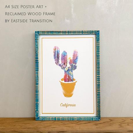 カリフォルニア サボテン A4 ポスター + 古材 フレーム 「Cactus in California」 玄関 インテリア 玄関飾り