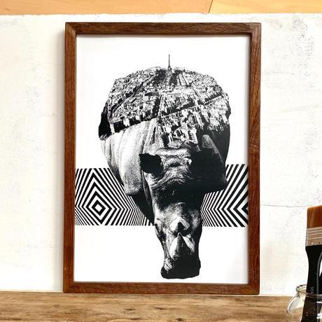 A3 ポスター プリントアート + 古材フレーム 「動物街シリーズ」 Rhino x Paris