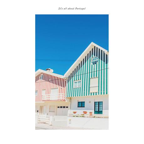 アートポスター インテリア A4 + ポスターフレーム アンティーク「 Pajama City 」It's all about Portugal No.23