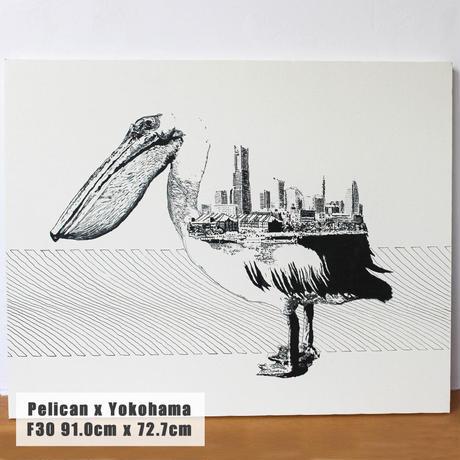 Pelican x Yokohama 手描き キャンバス モノクロアート F30号 (909mm×727mm)
