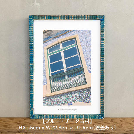 ポスター インテリア A4 + 額縁 フレーム 木製 「 azulejo 」It's all about Portugal No.3