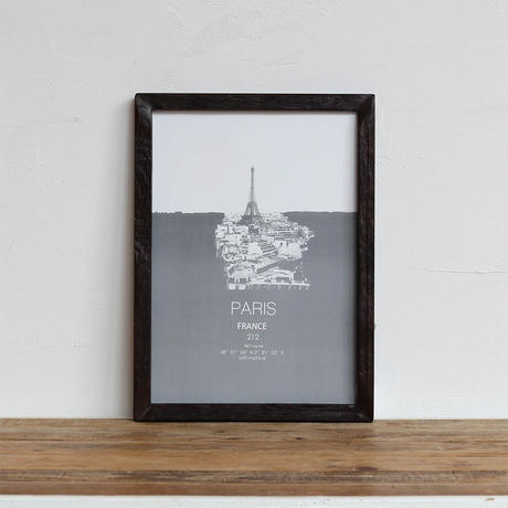 "「CITY ""PARIS"" パリ」A4 モノトーン ポスター + 古材 フレーム セット商品"