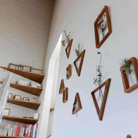 【3点セット】 壁掛け 三角形 一輪挿し 木製 「SS +S + Mサイズ」 ドライフラワー フラワーベース 壁飾り インテリア