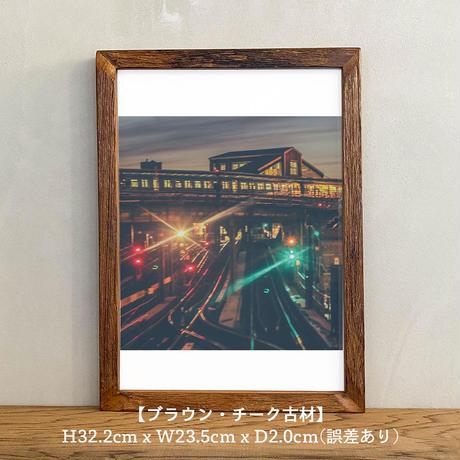 ポスター アート A4 + ポスターフレーム 木製 「Train Song - ニューヨーク T257」