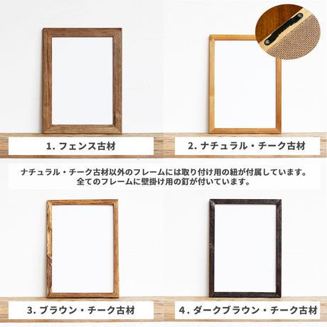 「モノクロアート Agave」A4 モノトーン ポスター & 木製 アンティーク 額縁 セット