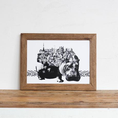 Hippo x Tokyo 「モノクロアート 動物街」A4 モノトーン ポスター + 古材 フレーム セット商品