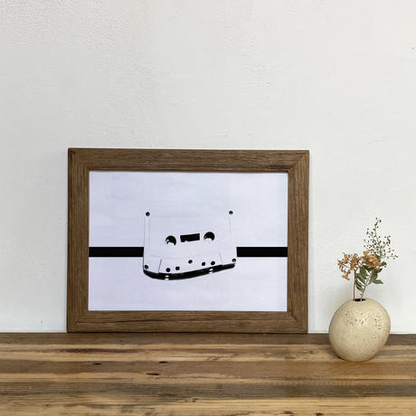 「モノクロアート Cassett」A4 モノトーン ポスター & 木製 アンティーク 額縁 セット