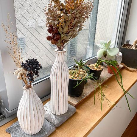 花瓶 No.20 BIG ホワイト + 一輪挿し 19/20/22 木製 【2点セット】 ドライフラワー フラワーベース 玄関 ニッチ