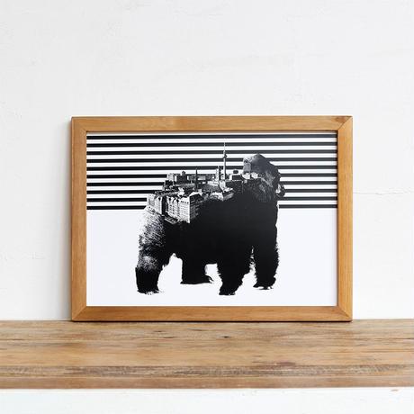 Gorilla x Berlin 「モノクロアート 動物街」A4 モノトーン ポスター + 古材 フレーム セット商品
