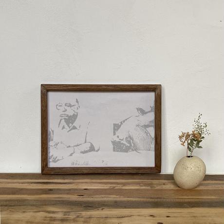 「モノクロアート Old Folks」A4 モノトーン ポスター & 木製 アンティーク 額縁 セット
