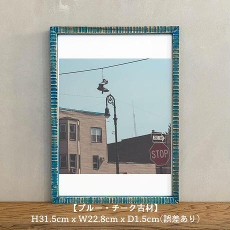 ポスター アート A4 + ポスターフレーム 木製 「Teen Age Riot - ニューヨーク ブルックリン」
