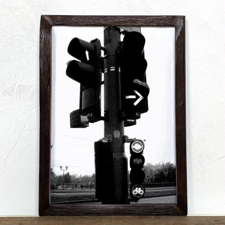 「モノクロアート Traffic Light」A4 モノトーン ポスター & 木製 アンティーク 額縁 セット