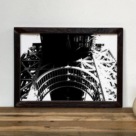 「モノクロアート Bridge 2」A4 モノトーン ポスター & 木製 アンティーク 額縁 セット