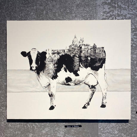 Cow x Venice 手描き キャンバス モノクロアート F30号 (909mm×727mm)