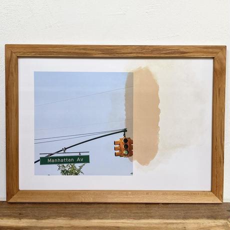 One Way Ave.「NYシリーズ」 A4 ポスター & 木製 ポスターフレーム 壁掛け