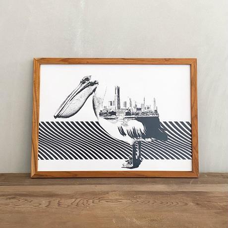 A3 ポスター プリントアート + 古材フレーム 「動物街シリーズ」 Pelican x Yokohama
