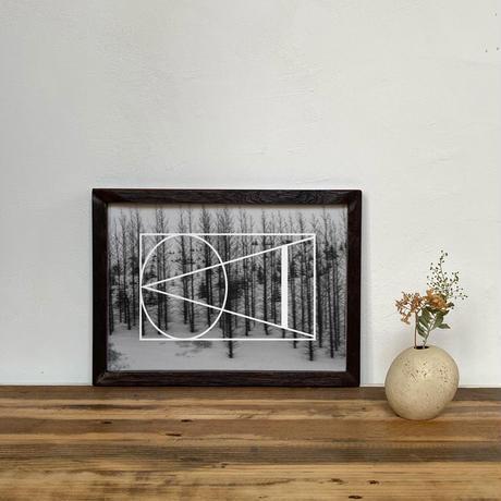 「モノクロアート Black Sails」A4 モノトーン ポスター & アンティーク ウッド フレーム