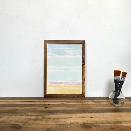 Untitled「水彩」 A4 プリント ポスター アート + 木製 アンティーク 額縁 No.124