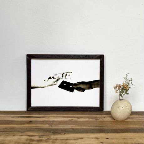 「モノクロアート Exchange」A4 モノトーン ポスター & 木製 アンティーク 額縁 セット