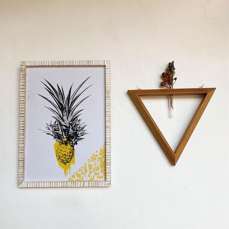パイナップル A4 ポスター + 古材 フレーム 「Pineapple」 玄関 インテリア 玄関飾り