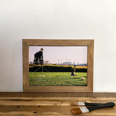 A Girl & Flowers「NYシリーズ」 A4 ポスター & 木製 ポスターフレーム 壁掛け