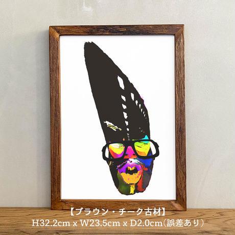 「Urban tribal 3rd」A4 インテリアポスター & 木製 アンティーク 額縁 セット