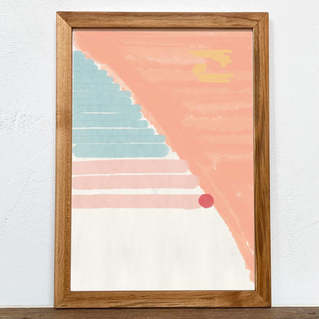 Untitled「水彩」 A4 プリント ポスター アート + 木製 アンティーク 額縁 No.118