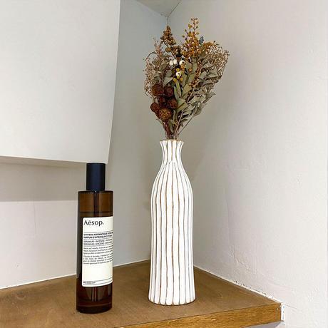 花瓶 No.19 BIG ホワイト + 一輪挿し 19/20/22 木製 【2点セット】 ドライフラワー フラワーベース 玄関 ニッチ