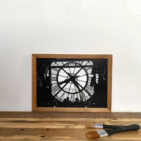 Paris「Transition ヨーロッパ」  A4 モノクロポスター アート & アンティーク ウッド フレーム