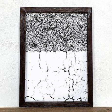 「モノクロアート Mono.4」A4 モノトーン ポスター & 木製 アンティーク 額縁 セット