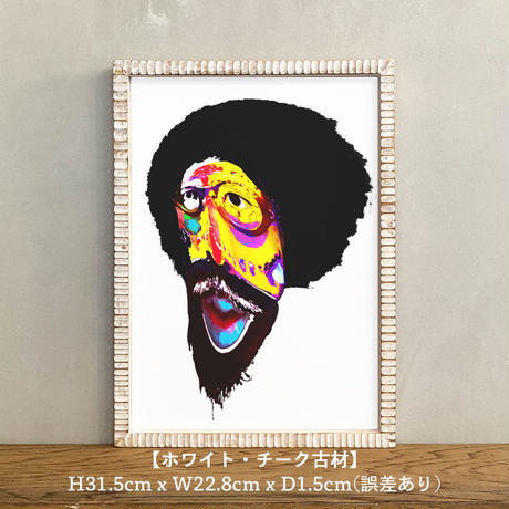「Urban tribal 5th」A4 インテリアポスター & 木製 アンティーク 額縁 セット