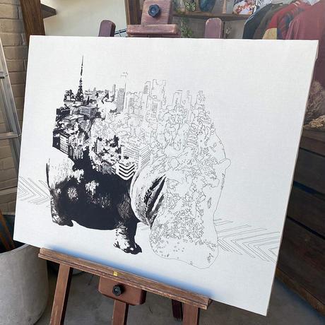 Hippo x Tokyo 手描き キャンバス アート F30号(909mm×727mm)