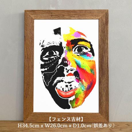 「Urban tribal 1st」A4 インテリアポスター & 木製 アンティーク 額縁 セット